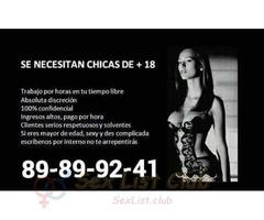 agencia necesita chicas para damas de compañía y prepago
